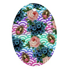 Floral Waves Oval Ornament (two Sides)