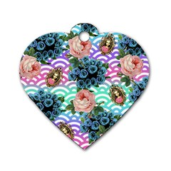 Floral Waves Dog Tag Heart (two Sides)