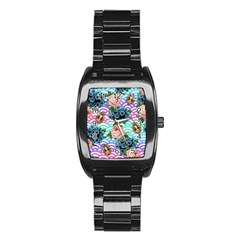 Floral Waves Stainless Steel Barrel Watch