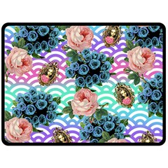Floral Waves Double Sided Fleece Blanket (large)