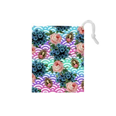 Floral Waves Drawstring Pouches (small)