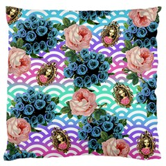 Floral Waves Large Flano Cushion Case (one Side)