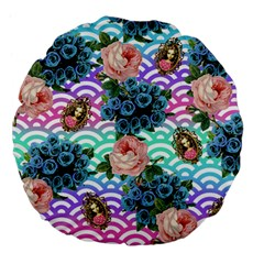 Floral Waves Large 18  Premium Flano Round Cushions