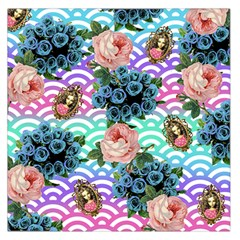 Floral Waves Large Satin Scarf (square)