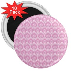 Damask Pink 3  Magnets (10 Pack)
