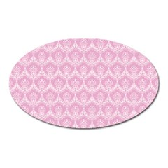 Damask Pink Oval Magnet