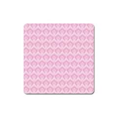 Damask Pink Square Magnet