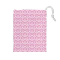 Damask Pink Drawstring Pouches (large)