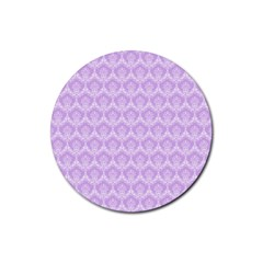 Damask Lilac Rubber Round Coaster (4 Pack)