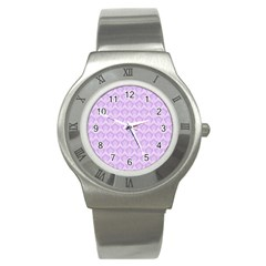 Damask Lilac Stainless Steel Watch