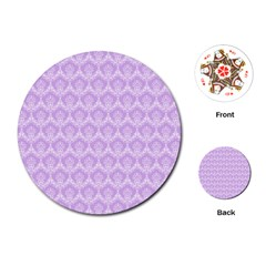 Damask Lilac Playing Cards (round)