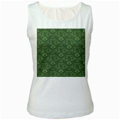 Damask Green Women s White Tank Top