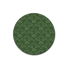 Damask Green Rubber Round Coaster (4 Pack)