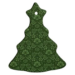 Damask Green Christmas Tree Ornament (two Sides)