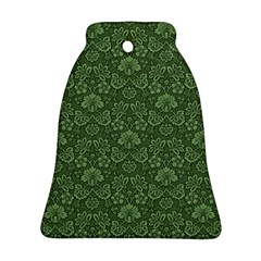 Damask Green Bell Ornament (two Sides)