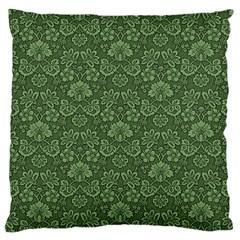 Damask Green Large Cushion Case (one Side)