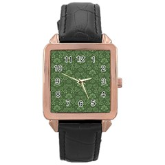 Damask Green Rose Gold Leather Watch