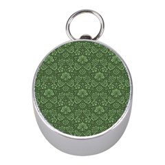 Damask Green Mini Silver Compasses