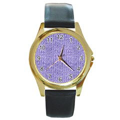 Knitted Wool Lilac Round Gold Metal Watch