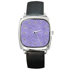 Knitted Wool Lilac Square Metal Watch