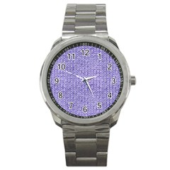 Knitted Wool Lilac Sport Metal Watch