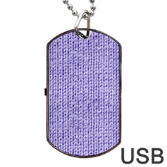 Knitted Wool Lilac Dog Tag Usb Flash (two Sides)