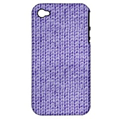 Knitted Wool Lilac Apple Iphone 4/4s Hardshell Case (pc+silicone)