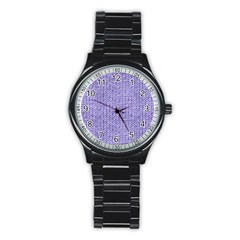 Knitted Wool Lilac Stainless Steel Round Watch
