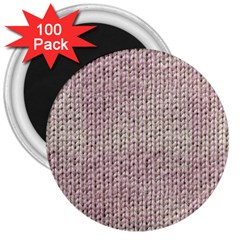 Knitted Wool Pink Light 3  Magnets (100 Pack)