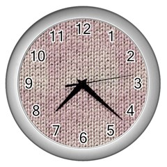Knitted Wool Pink Light Wall Clocks (silver)