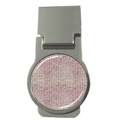 Knitted Wool Pink Light Money Clips (round)