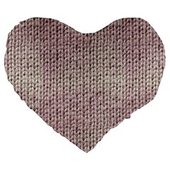 Knitted Wool Pink Light Large 19  Premium Heart Shape Cushions
