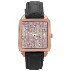 Knitted Wool Pink Light Rose Gold Leather Watch