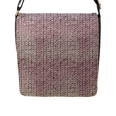 Knitted Wool Pink Light Flap Messenger Bag (l)