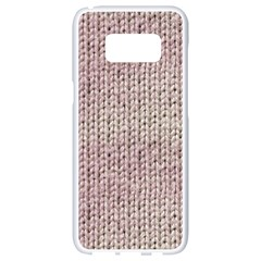 Knitted Wool Pink Light Samsung Galaxy S8 White Seamless Case