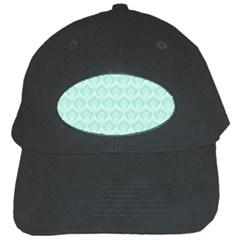 Damask Aqua Green Black Cap