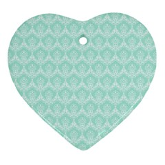 Damask Aqua Green Ornament (heart)