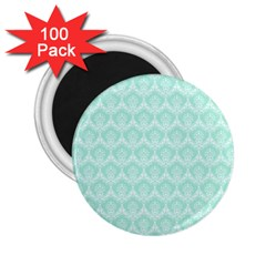 Damask Aqua Green 2 25  Magnets (100 Pack)