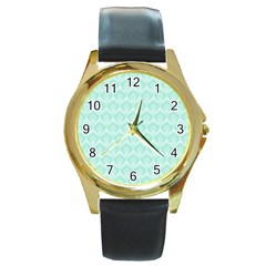 Damask Aqua Green Round Gold Metal Watch