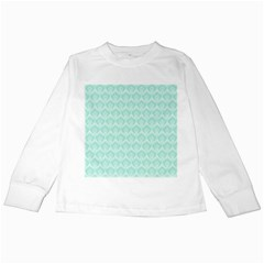 Damask Aqua Green Kids Long Sleeve T Shirts