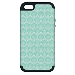 Damask Aqua Green Apple Iphone 5 Hardshell Case (pc+silicone)