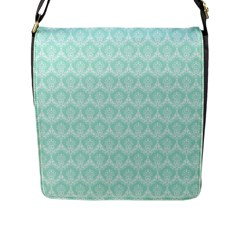 Damask Aqua Green Flap Messenger Bag (l)