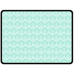 Damask Aqua Green Double Sided Fleece Blanket (large)