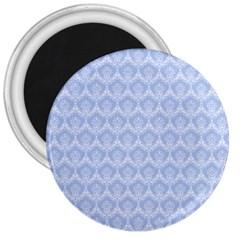 Damask Light Blue 3  Magnets