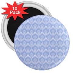 Damask Light Blue 3  Magnets (10 Pack)
