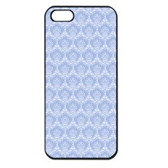 Damask Light Blue Apple Iphone 5 Seamless Case (black)