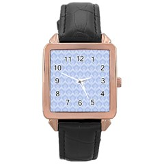Damask Light Blue Rose Gold Leather Watch
