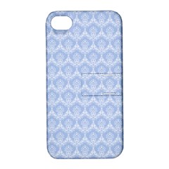 Damask Light Blue Apple Iphone 4/4s Hardshell Case With Stand