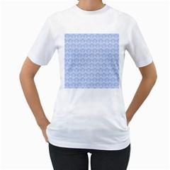 Damask Light Blue Women s T Shirt (white)