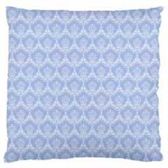 Damask Light Blue Large Flano Cushion Case (two Sides)